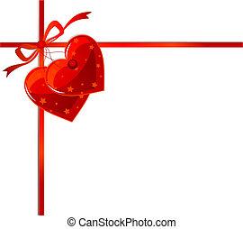 Cinta roja y corazones