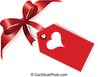 Cinta roja y etiqueta con corazón