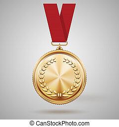 cinta, vector, medalla, rojo, oro