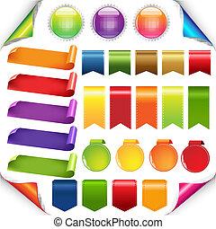 Cintas coloridas y etiquetas puestas