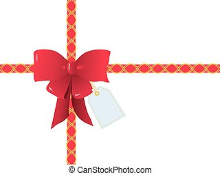 Cintas rojas y arco para envolver regalos, caja rectangular