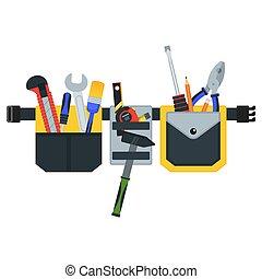 Cinturón con herramientas. Imagen conceptual de herramientas para reparar