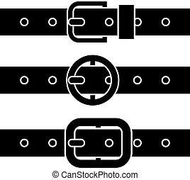 Cinturón de hebilla vector, símbolos negros