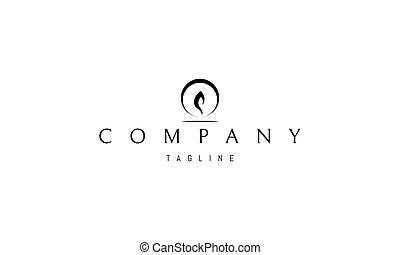 circle., logotipo, resumen, imagen, llama, vela, vector