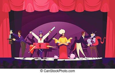 circo, ilustración, caricatura