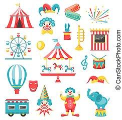 Circo y iconos de carnaval aislados en el fondo blanco