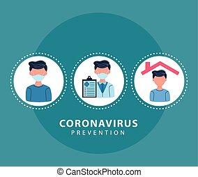 circular, prevención, iconos, marcos, covid19