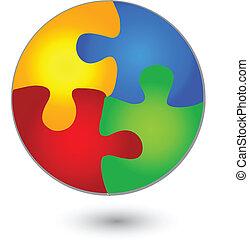 Circulo de rompecabezas en logo de colores vívidos