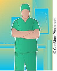 cirujano, brazos cruzados