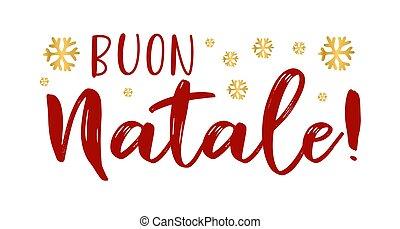 cita, celebración, letras, translated, o, invitation., cartel, logotipo, buon, tarjeta, italiano, alegre, header., navidad., natale