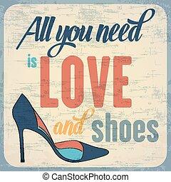 cita, sobre, tipográfico, plano de fondo, shoes