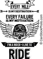 Cito de motociclista Vector con frase de motivación