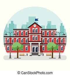 city., edificio grande, escuela, vector, ilustración