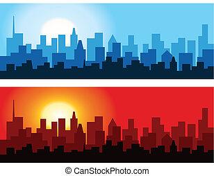 Cityscape al amanecer y al atardecer