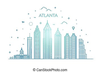 cityscape, atlanta, señales, arquitectura, contorno, illustration., lineal, vector, línea, famoso