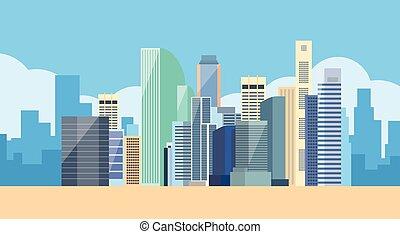 cityscape, grande, vista, perfil de ciudad, moderno