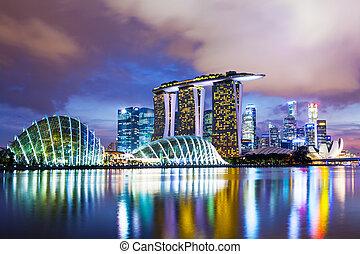 cityscape, ocaso, singapur