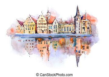 cityscape, pintura, acuarela, brujas, canal, dibujo, belgium., brugge, aquarelle