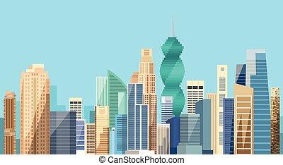 cityscape, rascacielos, vista, panamá, plano de fondo, perfil de ciudad