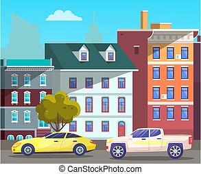 cityscape, revelado, camino, pueblo, vehículos