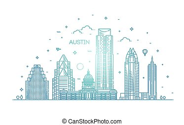 cityscape, señales, arquitectura, contorno austin, illustration., lineal, línea, vector, famoso