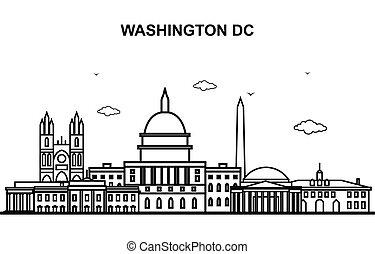 cityscape, washington, ciudad, viaje, línea, contorno, contorno, cc, ilustración