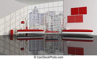 ciudad, apartamento, contemporáneo