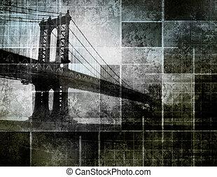 ciudad, arte, puente, inspirado, moderno, york, nuevo