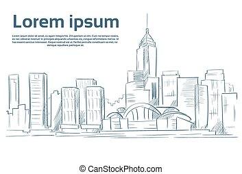 ciudad, bosquejo, contorno, vector, rascacielos, cityscape, vista