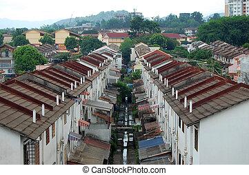 ciudad, casas, kuala lumpur, suburbio