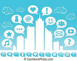 Ciudad con iconos de los medios sociales.