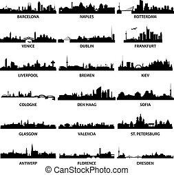 ciudad, contornos, europeo