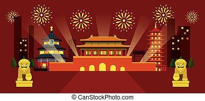 Ciudad de China, escena nocturna