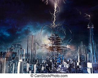 Ciudad de cristal futurista
