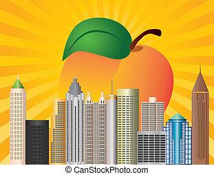 Ciudad de Georgia de Atlanta con ilustración de durazno