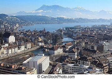 Ciudad de invierno de Lucerne Suiza