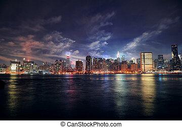 Ciudad de Nueva York Manhattan al atardecer