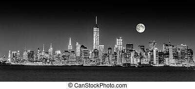 Ciudad de Nueva York Manhattan en el horizonte del centro