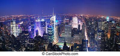Ciudad de Nueva York Manhattan Times Square Skyline vista aérea