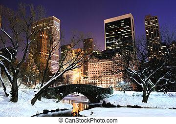 Ciudad de Nueva York, Manhattan, un panorama del parque central al atardecer
