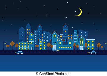 Ciudad de papel a la vista nocturna