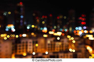 ciudad, defocused, luces