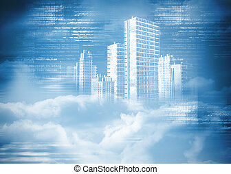 ciudad, digitalmente, nubes, generar, holograma