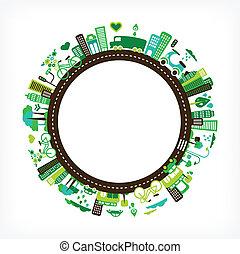 ciudad, ecología, -, ambiente, verde, círculo