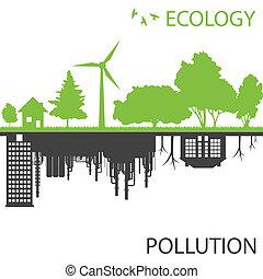 ciudad, ecología, contra, vector, fondo verde, contaminación