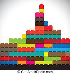 ciudad, edificios, colorido, metropolitano, contorno, bloque, construido
