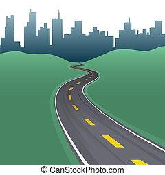 ciudad, edificios, curva, contorno, trayectoria, carretera