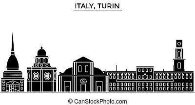 ciudad, edificios, italia, viaje, vistas, aislado, señales, vector, arquitectura, plano de fondo, cityscape, contorno, turín