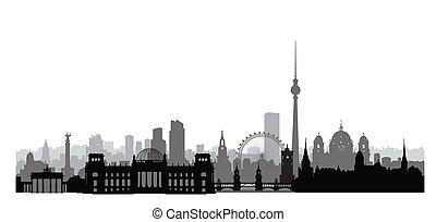 ciudad, edificios., landmarks., alemania, fondo., paisaje, cityscape, urbano, berlín, viaje, contorno