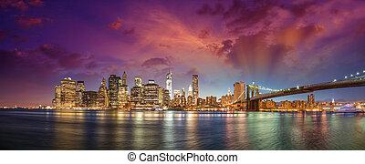 ciudad, edificios, rascacielos, oficina, puente, panorama, anochecer, contorno, luces, brooklyn, york, nuevo, manhattan, night., iluminado